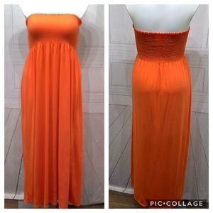 Faded Glory Orange NWOT Halter Maxi Dress XL